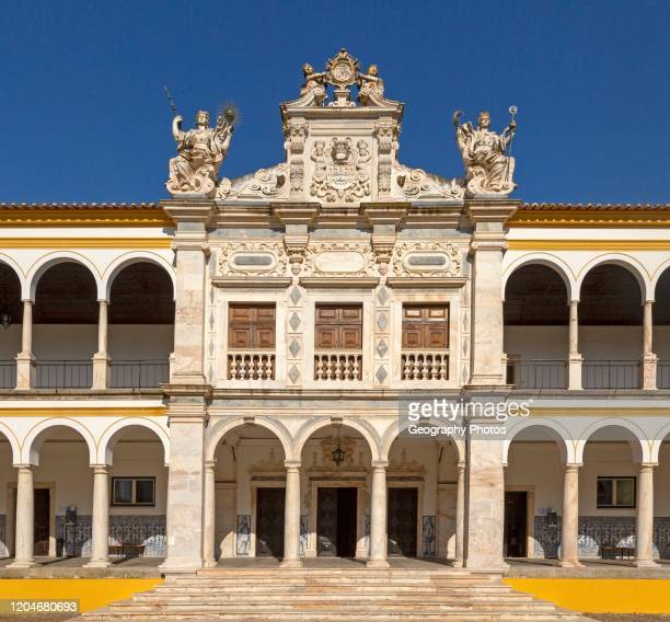 Facade of old chapel Colegio do Espirito Santo, historic courtyard of Evora University, Evora, Alto Alentejo, Portugal, Southern Europe.