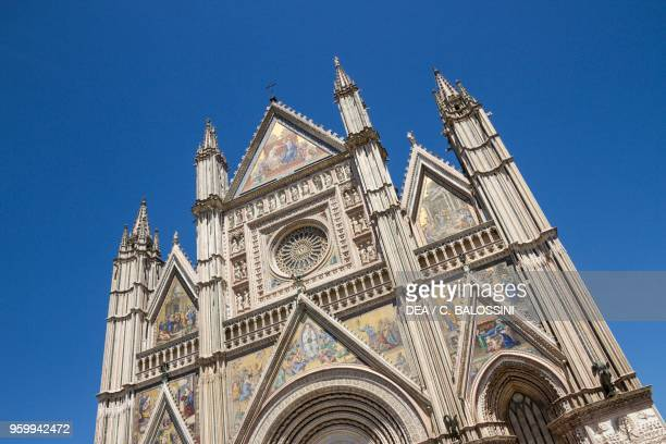 Facade of Orvieto Cathedral seen from below, Italy, 13th-14th century.