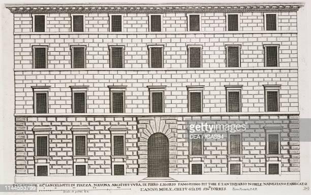 Facade of Palazzo De TorresLancellotti in Piazza Navona by Pirro Ligorio Rome Italy etching drawing by Pietro Ferrerio Palazzi di Roma de piu celebri...