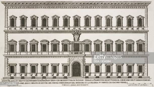 Facade of Palazzo Farnese by Antonio da Sangallo the Younger Michelangelo Buonarroti and Antonio Vignola 15141575 Rome Italy etching drawing by...
