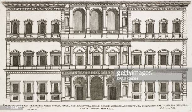 Facade of Palazzo Farnese towards the gardens with the lodges added by Giacomo Barozzio da Vignola in 1575 Rome Italy etching drawing by Pietro...