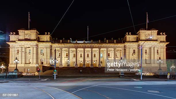 Facade of Parliament House in Melbourne at night