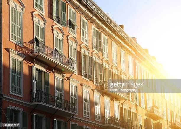 Facade of residential buildings in Nice, France
