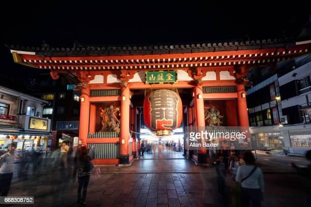 Facade of Senso-Ji buddhist temple in Asakusa illuminated at night