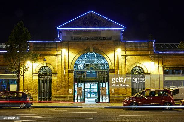 facade of st george's market in belfast - belfast stock pictures, royalty-free photos & images