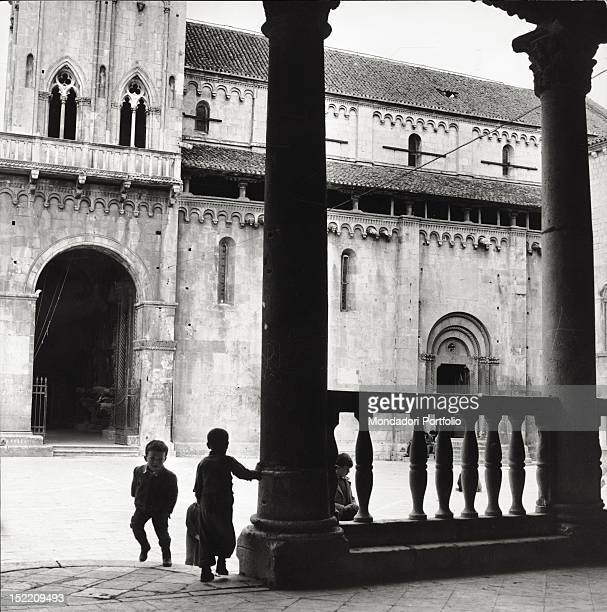 Facade of St Lorenz Cathedral builtup in the Venetian style Trogir February 22 1962