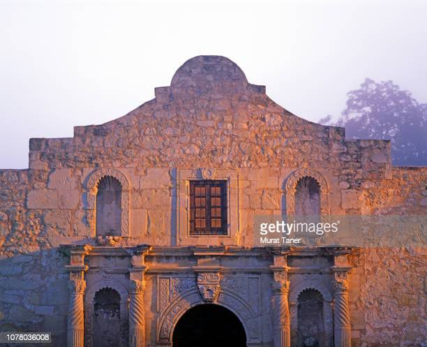 illuminated view historic alamo mission at