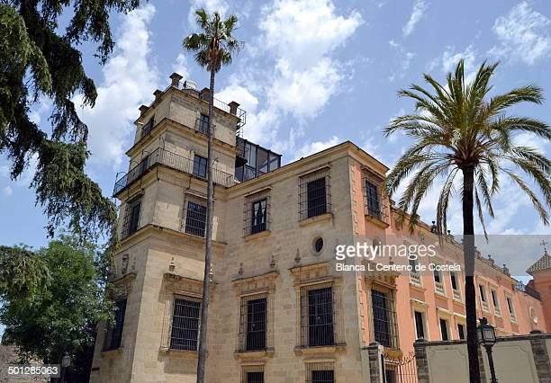 Facade of the Alcazar of Jerez de la Frontera. The Alcazar of Jerez was built in the twelfth century by the Almohads and is the most iconic landmark...