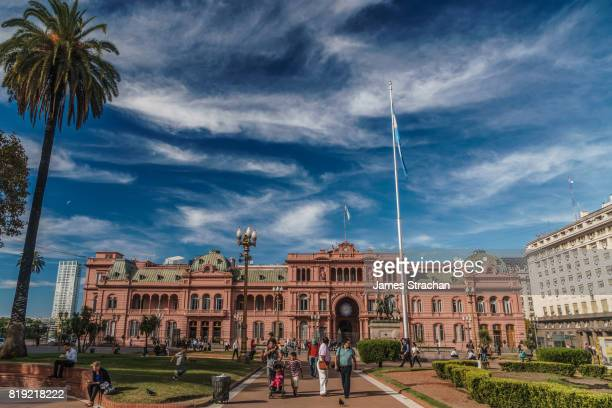 Facade of the Casa Rosada (Presidential Palace) from the balcony of which Eva Peron addressed her adoring supporters, Buenos Aires, Argentina