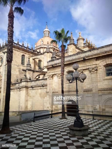 facade of the cathedral of jerez de la frontera - jerez de la frontera fotografías e imágenes de stock