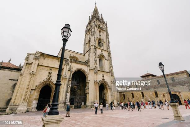facade of the cathedral of san salvador. - oviedo stock pictures, royalty-free photos & images