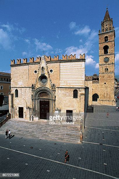 Facade of the cathedral of St Mary of Assumption, Teramo, Abruzzo. Italy, 12th century.