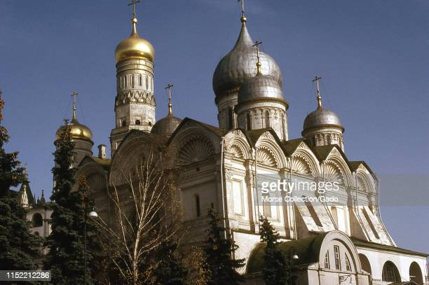Facade of the Cathedral of the Annunciation, in Moscow, Russia, 1973.