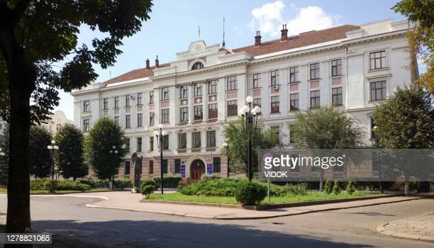facade of the city court building in ivano-frankivsk, ukraine. - ukraine stock pictures, royalty-free photos & images