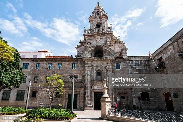 facade of the convent of santo domingo church, in the city of a coruna. - nonnenkloster stock-fotos und bilder