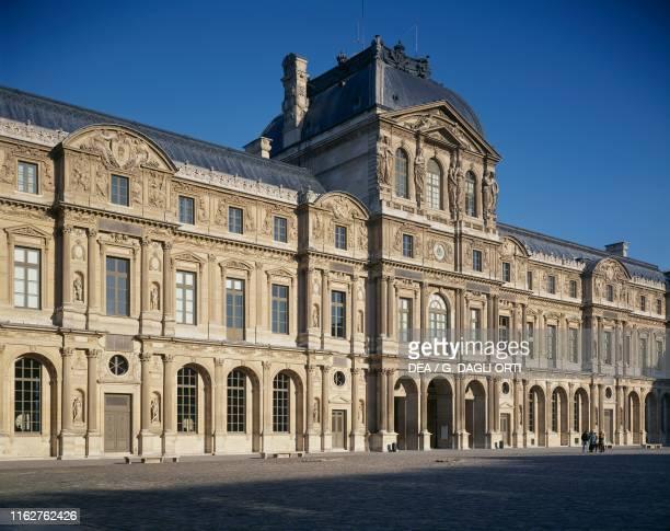 Facade of the Cour Carree, Louvre Palace, architect Pierre Lescot , Paris, Ile-de-France, France, 16th century.