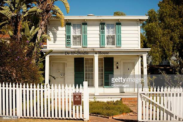facade of the derby-pendleton house, old town san diego, california, usa - old town san diego stock pictures, royalty-free photos & images