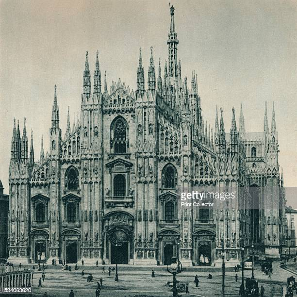 Facade of the Duomo, Milan, Italy' , from 'Italien in Bildern,' by Eugen Poppel , 1927. The Gothic cathedral of Milan was begun in 1386 but was not...