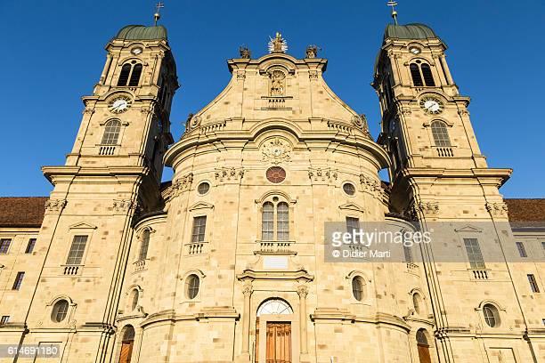 facade of the einsiedeln abbey in canton schwyz, switzerland - schwyz stock pictures, royalty-free photos & images