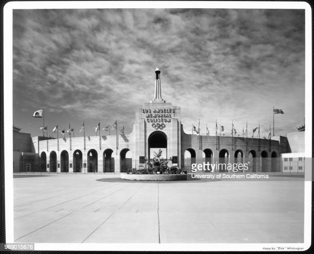 A facade of the entrance of the Los Angeles Memorial Coliseum Los Angeles California early to mid twentieth century
