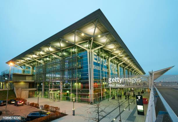 Facade of the 'Euro airport' in Basel illuminated at dusk