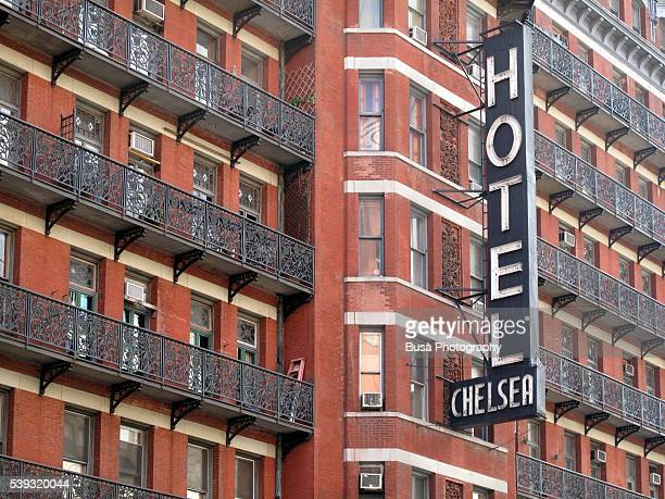 Facade of the famous Chelsea Hotel, located at 222 West 23rd Street in Manhattan, New York