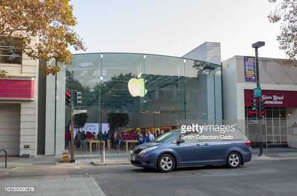 Facade of the flagship Apple Computers store in the Silicon Valley town of Palo Alto, California, November 17, 2018.