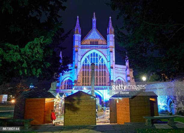 facade of the gothic winchester cathedral - winchester hampshire stock photos and pictures