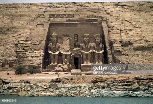Facade of the Great Temple of Ramesses II at night Abu Simbel Egypt Egyptian civilisation New Kingdom Dynasty XIX