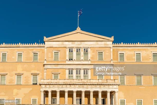 facade of the greek parliament in athens, greece - ギリシャ国会議事堂 ストックフォトと画像