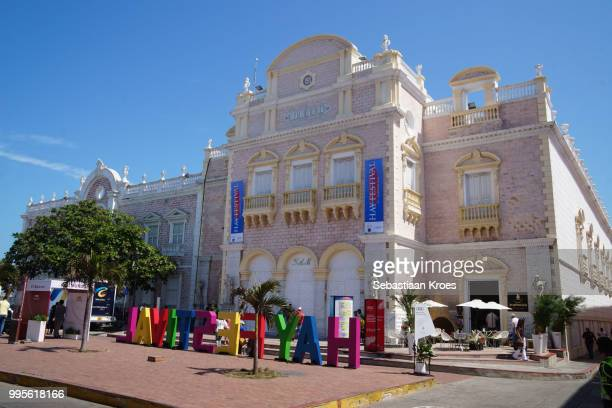Facade of the Heredia Theatre during the Hay Festival, Cartagena, Colombia