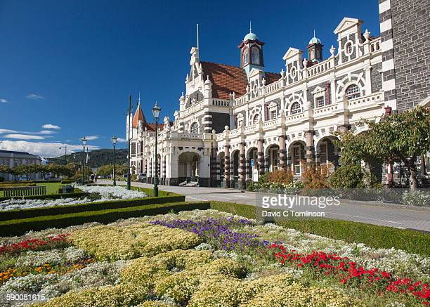 Facade of the historic railway station, Dunedin