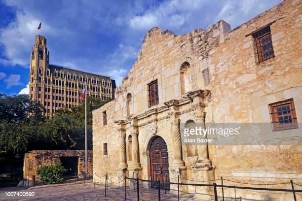 Facade of the iconic Alamo in San Antonio at sunset