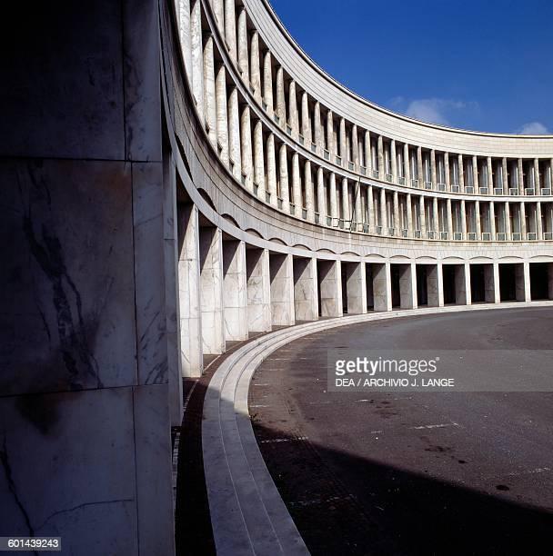 Facade of the INA and INPS building designed by Giovanni Muzio, Mario Paniconi and Giulio Pediconi, EUR district, Rome, Lazio. Italy, 20th century.