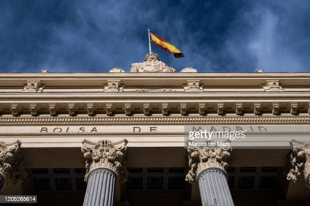 Facade of the Madrid Stock Exchange building Stock markets went down past week caused by fears among investors for the coronavirus crisis