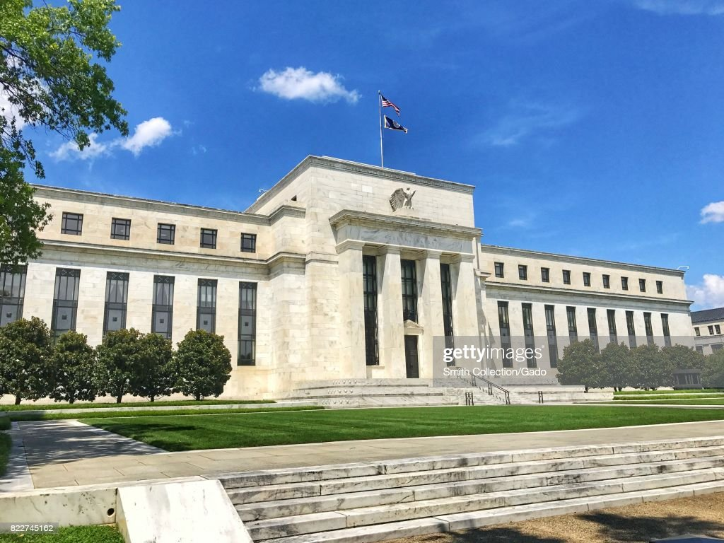 Facade of the Marriner S Eccles building of the United States Federal Reserve, the agency of the Federal Government responsible for setting the monetary policy of the United States, as well as determining interest rates, Washington, DC, July 24, 2017. (Photo via Smith Collection/Gado/Getty Images).