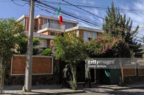 Facade of the Mexican embassy in La Paz Bolivia on November 29 2019 Bolivia's foreign minister Karen Longaric said Thursday Mexico will face a very...