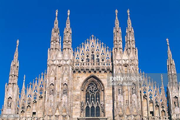 Facade of the Milan Cathedral detail Lombardy Italy