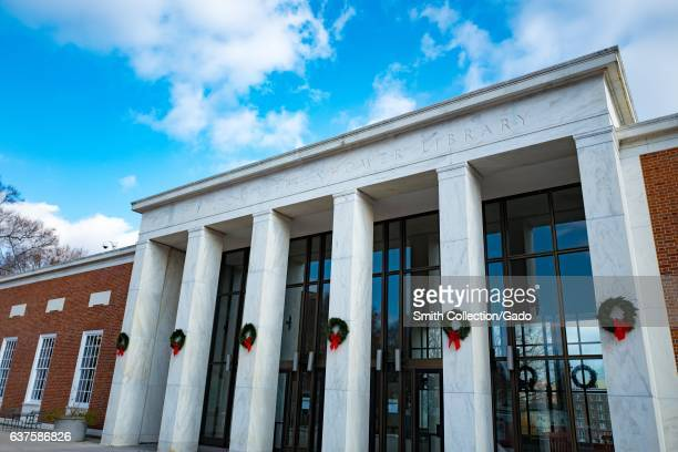 Facade of the Milton S Eisenhower Library on the campus of the Johns Hopkins University in Baltimore Maryland December 7 2016