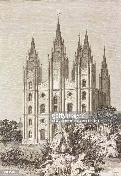 Facade of the Mormon temple, United States of America, drawing by Emile Therond from a sketch by Jules Remy , from The City of the Saints, among the...