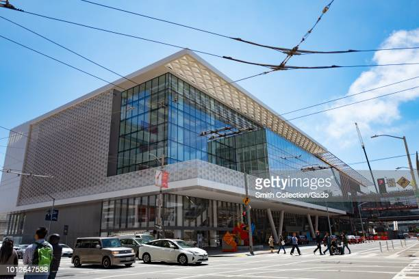 Facade of the Moscone Center convention center in downtown San Francisco California during its 2018 renovation August 2 2018