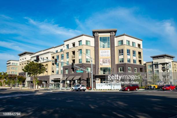 Facade of the newlyconstructed Aster luxury apartment building near the BART station in Dublin California July 23 2018