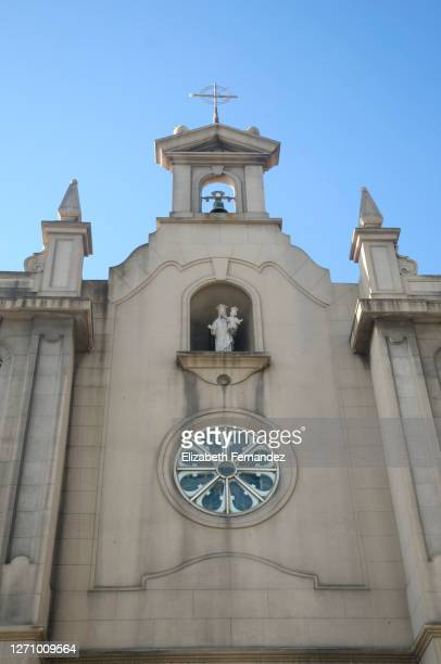 facade of the parish church maría auxiliadora, neo-romanesque style. a coruna, spain - 20th century style stock pictures, royalty-free photos & images