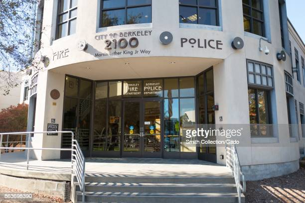 Facade of the police station and fire station for the Berkeley Police and Berkeley Fire Department at Martin Luther King Jr Civic Center Park in...