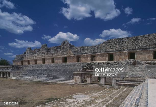 Facade of the Quadrangle of the Nuns , archaeological site of Uxmal , Puuc, Yucatan, Mexico. Mayan civilization, 10th century AD.