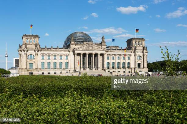 Facade of the Reichstag building (german parliament building) - Berlin, Germany