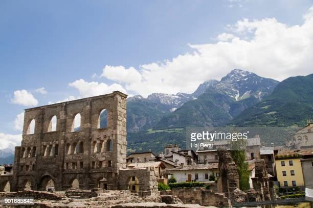 Facade of the Roman Theater in Aosta