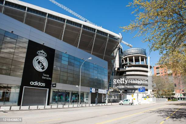 Facade of the Santiago Bernabéu Stadium, which will serve as a supply and distribution centre for health products aimed at combating the COVID-19...