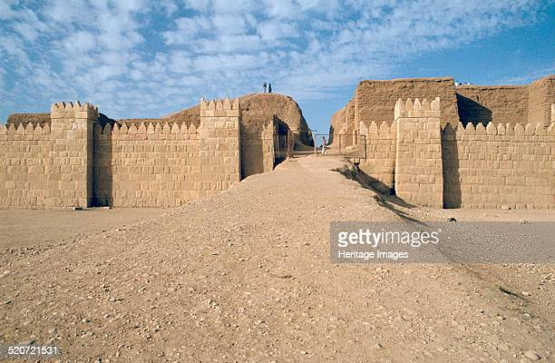 Facade of the Shamash Gate, Nineveh, Iraq, 1977. Reconstruction built in the 1960s of one of the great gates of the ancient Assyrian city of Nineveh.