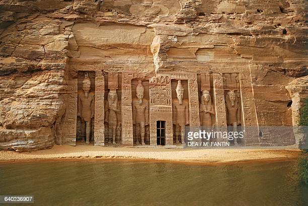 Facade of the Small Temple of Hathor dedicated to Queen Nefertari Abu Simbel Egypt Egyptian civilisation New Kingdom Dynasty XIX